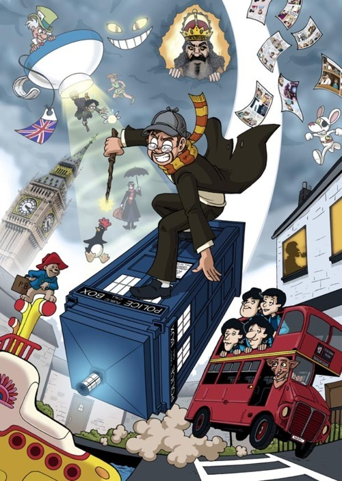 mcveeblogs:  linear-relationships:  doctorwho:  London This is exactly what it's like …right?  reblogging for reasons  They were selling prints of these at the expo, I kinda regret not buying one…