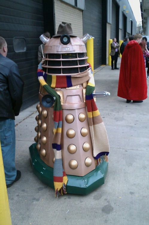 thefourteenthdoctor:  tinydragongina:  mad-man-with-a-scarf:  steampoweredrocket:  myenormousgreenragemonster:  carrie-berrrie:  ichbinerica:  this is a cosplay there is a dude on a hoveround inside this it makes sounds and plays music and everything moves and lights up  THIS IS A DALEK. COSPLAYING THE DOCTOR  It's undercover. It's trying to sneak in  The Doctor is in the background. With his arms crossed. He is not amused by your shenanigans Dalek.  WOULD. YOU. LIKE. A. JELLY. BABY.  A COSPLAY OF A DALEK COSPLAYING THE DOCTOR IT'S LIKE WHOCEPTION.  PLOT TWIST: It's One.