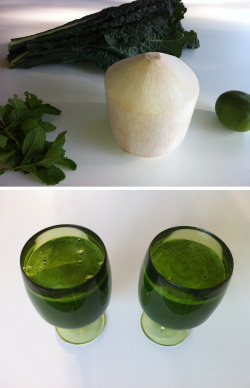 greenjuiceday:  Thai Coconut Green Juice My husband - who doesn't like coconut at all - wanted to call this Nightmare Green Juice… That tells you something about how much the coconut flavor comes through and how the kale seems to intensify the coconut's taste. Our Thai Coconut Green Juice (or a Nightmare Green Juice) recipe follows as: 10 leaves of kale 1 Thai young coconut, water 30 leaves of mint 1 lime, peeled Juice the kale and mint. Peel the lime and juice it as well. Crack the Thai young coconut open and poor its clear water into a glass bowl. Mix all liquid and add ice if available. Makes two small glasses. One experience stronger!