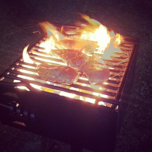 grilling chicken with the boys #yum . (Taken with instagram)