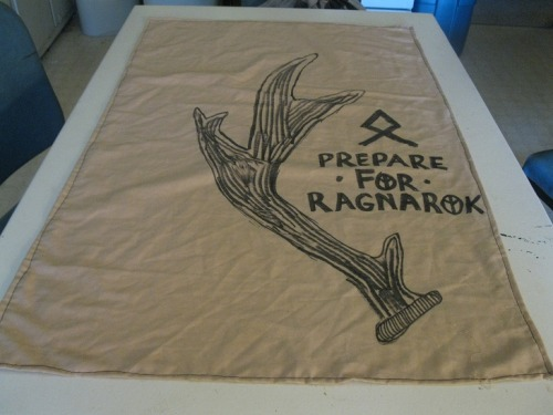 prepare for ragnarok!  (camp banner making sessions for festival season) antler is based off pizzapartypress's antler patches.. i take no credit for that antler!