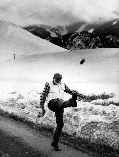 howtotalktogirlsatparties:  Ernest Hemingway kicks a beer can, 1959.
