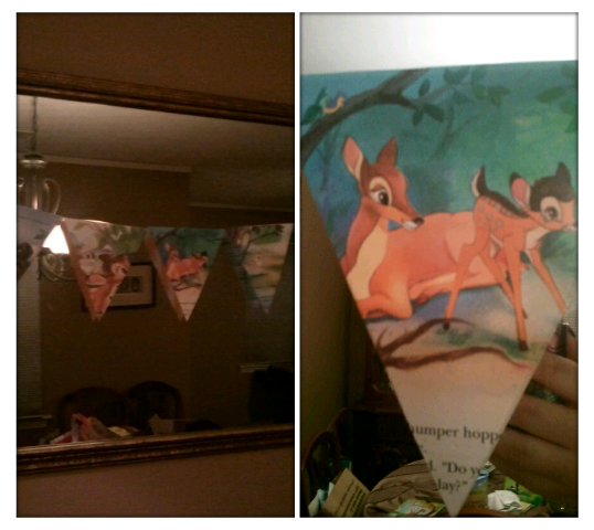 Completed shower project #4:  Ratty old golden books become beautiful Bambi bunting :)