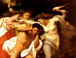 poisonwasthecure:  The Remorse of Orestes (detail) William Adolphe Bouguereau 1862