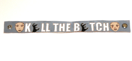 Custom Kill The Bitch Born This Way Ball Concert Leather Cuff @ Etsy.com