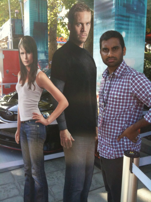 Aziz and the Furious. Aziz Ansari hangs out with Paul Walker and Jordana Brewster.