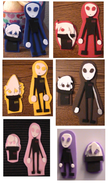flutter-chey:  Magnets I made based off of characters from Emy's webcomic, Trying Human. These are the human and basic form of the Greys. Blue - Hue Red - Shade Yellow - Tone Brown - EBE1 Pink - Pigment Purple - Chrome Trying Human, [these] Greys, and these characters belong to Emy But Chrome is mine though ^^;  These are on my fridge right now!!!