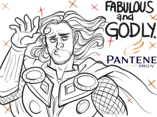 jakface:    butchbitch answered:  If you could draw Thor and his luscious locks in a Pantene advert, you'd pretty well make my day :'D    I've never drawn Avengers fanart but like 50 people requested Avengers stuff and I'VE NEVER DRAWN IT BEFORE BUT I NEEDED TO DRAW THIS OKAY? OKAY
