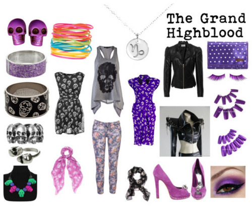 A Fashionstuck outfit inspired by The Grand Highblood, Gamzee Makara's ancestor.