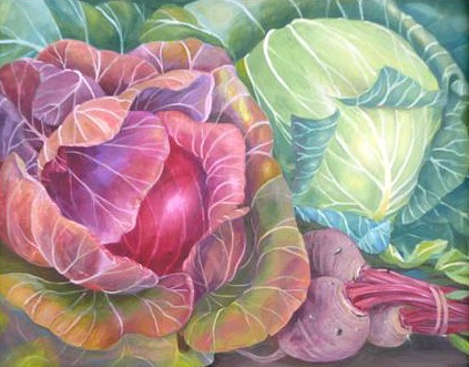 stilllifequickheart:  Charlotte Thodey Green Cabbage, Red Cabbage and Beetroot 2011