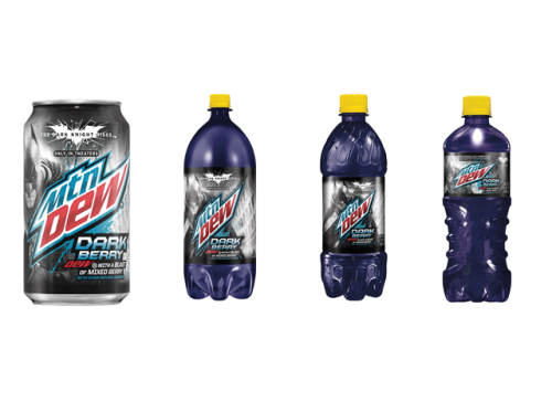 A sneak peak of Mountain Dew Dark Berry's upcoming designs: 12 oz. can, 2 liter bottle, 20 oz. bottle, and 20 oz. sidekick bottle.