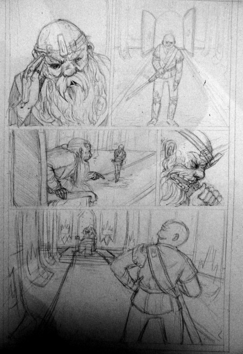 "Here are the completed pencils for page 1 of ""The Merry Adventures of Prince Ashe"" by Quinne Larsen.  Here we get a look at Adrienne's fierce father and…his fierce father long before we get to know him as King Ashe."