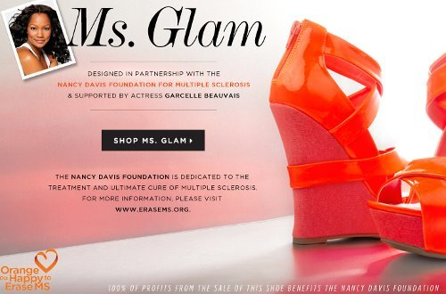 The Ms. Glam is available for just $39.95 atwww.yournextshoes.com/ShoeDazzle- 100% of the profits from this style will benefit the Nancy Davis Foundation for Multiple Sclerosis, and it's also supported by actress Garcelle Beauvais.