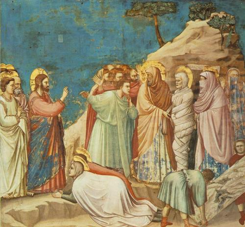 nioniel:  The Rising of Lazarus | Giotto | 1304-1306  One of the main features of Giotto's paintings is his focus on revealing human emotion through facial expressions. Along with the naturalistic beauty of the blue sky offsetting the human drama, this piece by Giotto from the Scrovegni Chapel in Padua eloquently and intentionally captures the amazement, grief, and reverence undergirding the effects of Jesus' actions directing the Biblical story. Focusing on the figure representing Jesus, the stern expression on his face has immediate impact. This expression helps to convey the determination of Jesus in the story to show the glory of God through his miraculous act. His expression also sets him apart from the others participating and witnessing the event. For example, the group to the left of the raised Lazarus, representing the Jews in the narrative, has raised hands and mixed expressions of curiosity and disbelief, whereas the two figures kneeling at the lower portion of the painting embody and convey acceptance of Jesus as the Son of God. Mary of Bethany, one of Lazarus' two sisters, communicates through her eyes an ambiguity and multiplicity of emotions. There is an indication of intense grief and concern along with a glimmer of astonished gratitude, like a mother who, believing her child to be in imminent danger, has just realized her child is safe and protected. Through Giotto's art, the presence of God's actions upon the human world are powerfully expressed. The artist embeds a theological understanding that, although there are many ways to respond to God and to Jesus, Lazarus was dead but now is risen.