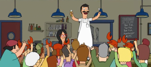 "One Fish, Two Fish, Red Fish Hamburger - $5.95 from Bob's Burgers Season 1 - Episode 12 : ""Lobsterfest"""