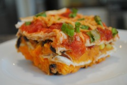 Layered Sweet Potato Echilada Casserole     (click image for recipe)