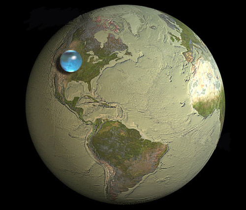 n-a-s-a:  All the Water on Planet Earth Illustration Credit & Copyright: Jack Cook, Woods Hole Oceanographic Institution, Howard Perlman, USGS Explanation: How much of planet Earth is made of water? Very little, actually. Although oceans of water cover about 70 percent of Earth's surface, these oceans are shallow compared to the Earth's radius. The above illustration shows what would happen is all of the water on or near the surface of the Earth were bunched up into a ball. The radius of this ball would be only about 700 kilometers, less than half the radius of the Earth's Moon