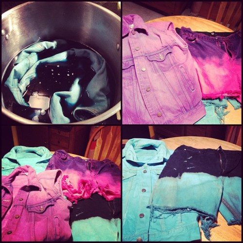 The dyeing results. Teal & Fuschia colors. This was fun, and super easy. More to come! ☺ #diy (Taken with instagram)