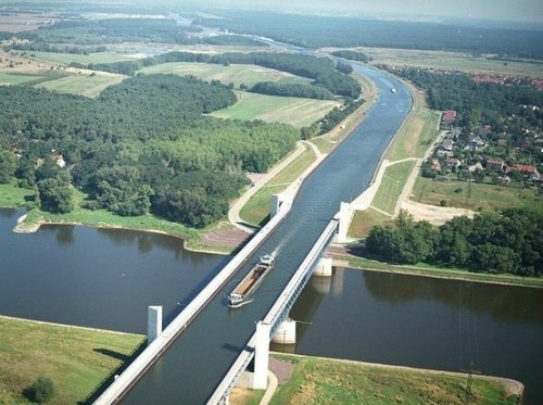 A river above the river: Magdeburg Water Bridge, Germany.