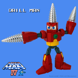 "A great rendition of one of the classic Mega Man ""Robot Masters"" built out of Lego."