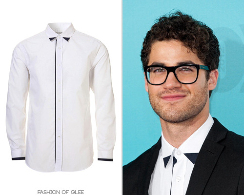 fashionofglee:  Darren Criss arrives at the 2012 Fox Upfronts, New York City, May 14, 2012 You can't go wrong in Topman, and Darren gets it really, really, right. Topman White Collar Tip Smart Shirt - $44.00