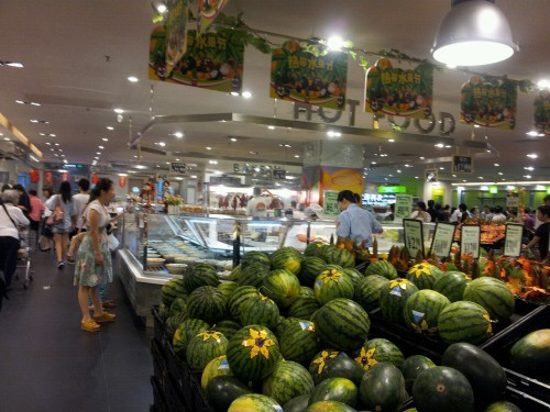 Fresh watermelons at our local Park n Shop, Guangzhou.
