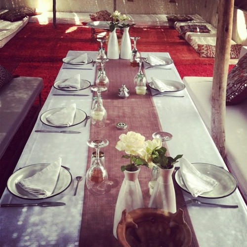 Table setting at La Pause. You can feel your entire body relax as you enter the dirt road and succumb to its splendor.