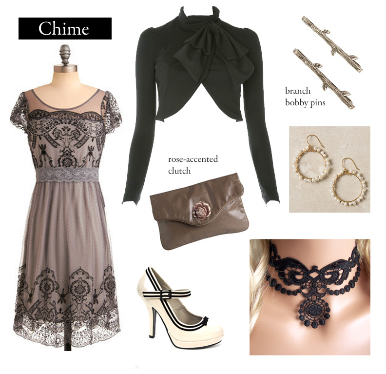 "Outfit inspired by Franny Billingsley's Chime. ""Dark and light, dark and light. That was the world. The world was like lace. Lace is dark and light.""  Grace Gardens Dress 
