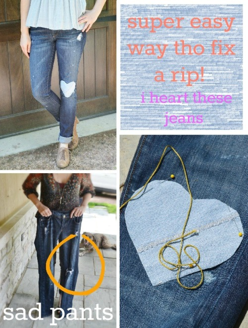 DIY Denim Heart Patch for Jeans. Like the idea of using denim to patch denim. Add this to the list of patches' tutorials I posted as a roundup here. Tutorial from 11 Eureka here.