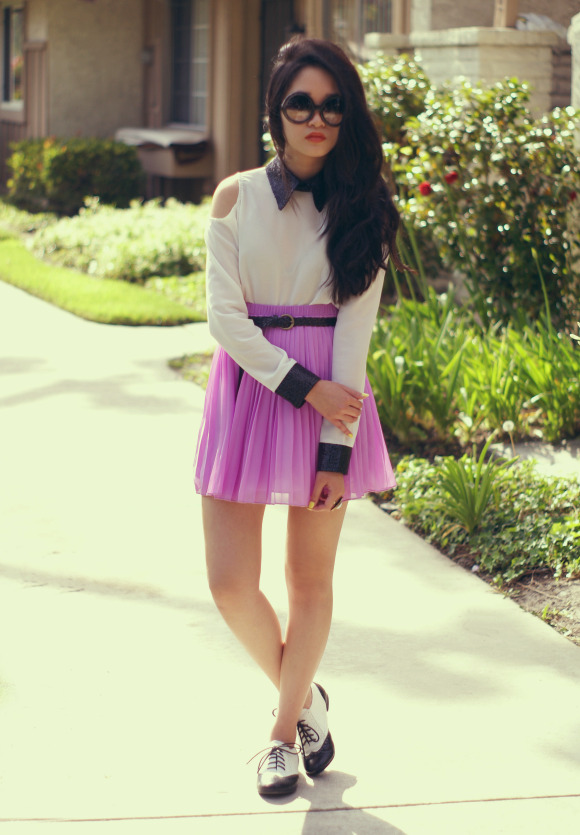 blouse c/o Romwe • skirt c/o SHOPAKIRA • 80s Purple sunglasses • oxfords from Endless (image: rougefox)