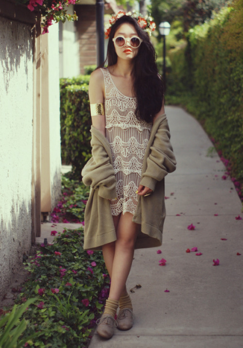 "what-do-i-wear:  dress c/o Goodnight Macaroon • thrifted cardigan • cuff + sunglasses c/o Romwe • flower crown from Etsy • Steve Madden ""Trouser"" oxfords (image: rougefox)"
