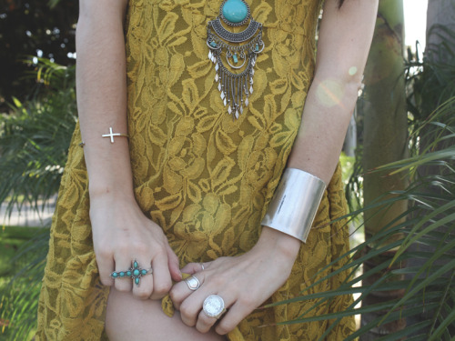 what-do-i-wear:  Lace Dress - Free People / Necklace - H&M (old) Bracelets - Black Oak & Derek Jaymes Cuff / Rings - Younger Young & Vintage (image:  agogofashion)