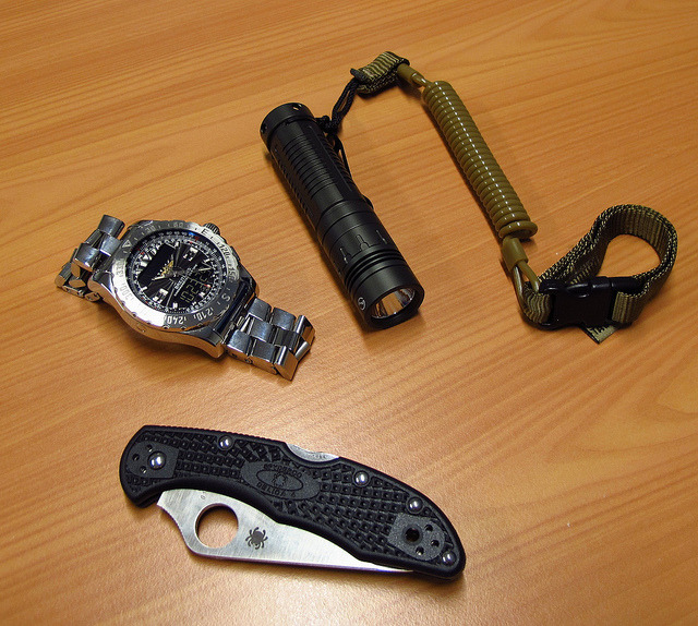 EDC By: bjornkeizers Spyderco Delica - Purchase on Amazon Breitling Airwolf  Sunwayman V10A - Purchase on Amazon
