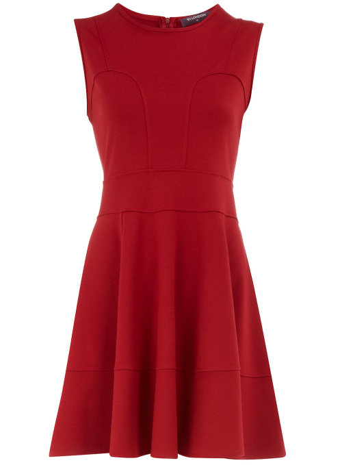 Red Seam Fit and Flare Dress by Dorothy PerkinsRed sleeveless fit and flare dress with seam detail. 85 acrylic, 15 polyester. Machine washable.