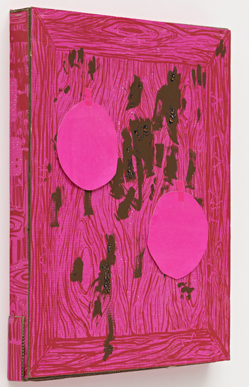 Aaron CurryPink Box with Dots. 2011silkscreen, tape, and gouache on cardboard39 x 31 1/4 x 3 1/2 inches (99.1 x 79.4 x 8.9 cm) VIA MORE