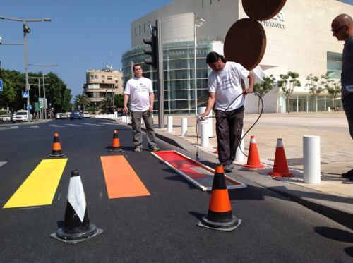 Tel Aviv Municipality repaints a zebra crossing in the colors of the rainbow flag ahead of LGBT Pride Month. Photo taken on May 15 near the Habima Theater (center of Tel Aviv)