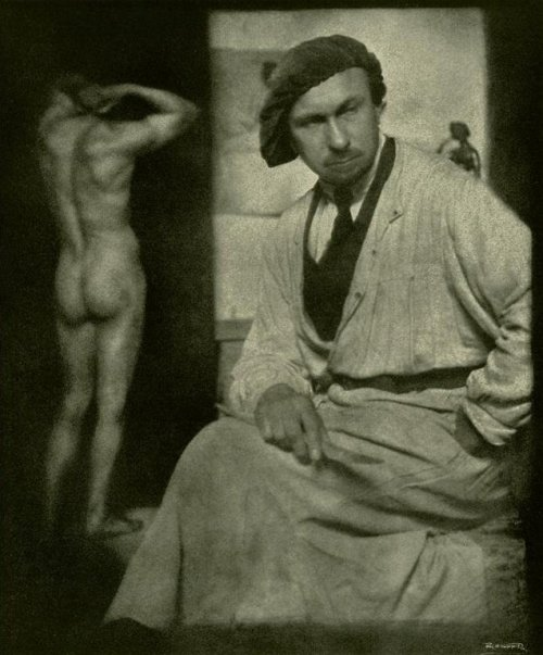 Rudolf Koppitz - The Sculptor with Naked Model, 1926