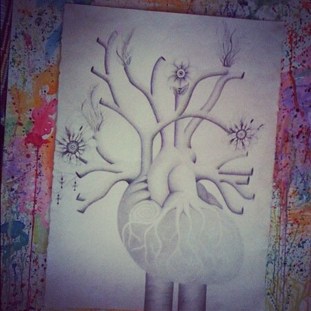 "One of a few drawings I have yet to finish.Its titled ""In my heart there's flowers growin"""