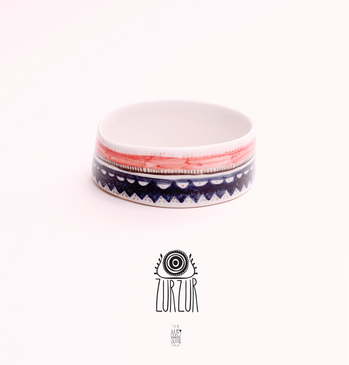porcelain bangle (04) with underglaze decoration -NOT AVAILABLE