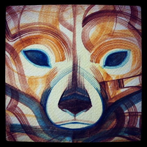 guymckinley:  Sunbear painting. Bear face. (Taken with instagram)