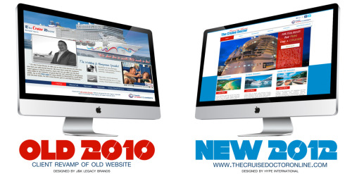 The new and improved Cruise Doctor website for Expedia client. Check out the before and after design from 2010 to 2012. We moved the clients website from flash to HTML 5 with upgrades to the overall web design.  Visit www.thecruisedoctoronline.com to view the new website. Hype International took an old site designed by former company J&K Legacy Brands web designer and turned it into a simple, easy to use formatted website. Now viewers can easily book a cruise through the Cruise Doctor website and easily inquire about new cruise deals, and other exciting travel opportunities through land, air and sea.  A little bit about the Cruise Doctor himself, Mr. Bernard Harris. Bernard Harris is a Expedia Travel Agent, and a WOW Expert Plus with Royal Caribbean International Cruise Line University, Commodore with Princess & Cunard Cruise Lines, A Freestyle Cruise Specialist with Norwegian Cruise Line University and received a PHD@SEA. As a cruise specialist, he takes the time to understand what you want most in a dream vacation and identify which cruise lines, ships and itineraries best suits your needs. He also manages all the booking arrangements and travel details, leaving you the time to dream and have fun. We had fun designing the Cruise Doctor's website. Our design team at Hype International love to see our clients happy. We can truly say that our client was very pleased and eager to relaunch his new website. Check out the before and after above and let us know what you think.  If you are someone you know are in need of a new web design, contact us for a free quote. Call or email us today. 770-217-0681