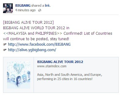 "VIPs! BIGBANG is coming to the Philippines as part of their ""BIGBANG Alive World Tour 2012"". More details to be announced soon  source: https://www.facebook.com/BIGBANG/posts/266127940152128"