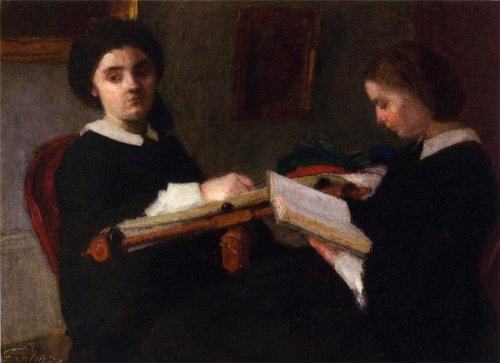 poboh:  Two Young Women, Embroidering and Reading, Henri Fantin-Latour. French (1836 - 1904)