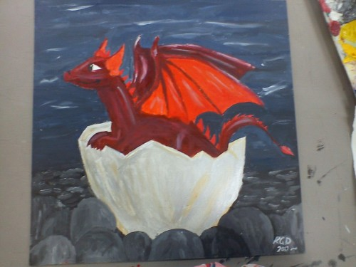 My painting of a baby dragon. Took me 2 and a half days to paint