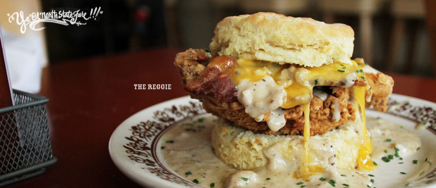 'the reggie' @ pine state biscuits, portland, oregon biscuits, fried chicken, bacon, cheese, gravy