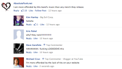 "Whats up ballas' i saw this comment by Absolutepunk.com on Altpress.com, the article was Frankie Palmeri (Lead Singer of Emmure) talking about ""Offensive Band Merch"" Not sure why Absolute Punk felt the need to mention their utter and MORBID hatred of Emmure, but i think there ok"