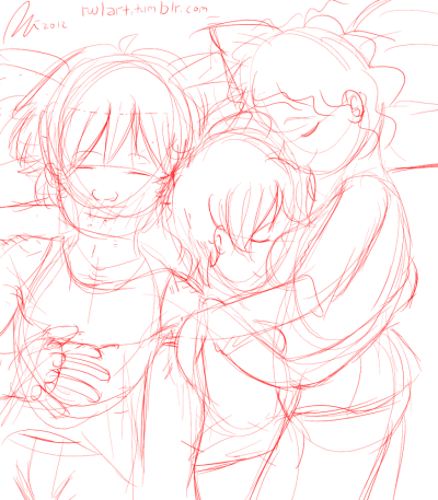 A happy sleepy trio of lovers.