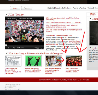 Dawg Camp made UGA's front page! No, we did not pay them to do this. It was as big as a surprise to us as it is to you! Clearly the University sees the value in all that we do here and the value it gives to incoming first years.  Sign up before it's too late! (seriously, spots are moving faster this year than in year's past) dawgcamp.uga.edu!
