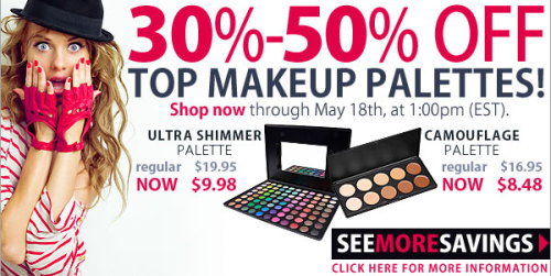 30-50%  SALE on Best-Selling Palettes from Coastal Scents! AVAILABLE UNTIL 05/18/2012, 1:00PM EASTERN STANDARD TIME, USA, OR WHILE SUPPLIES LAST.