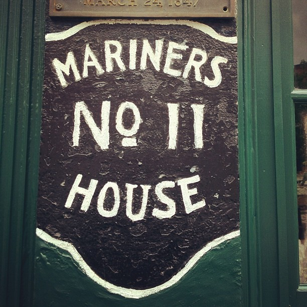 Mariner's House : North End Saw this in the North End the other day. The graphic designer in me had to touch it. spaceagency:  Some nice old busted type. #typography #signpainting #boston (Taken with instagram)